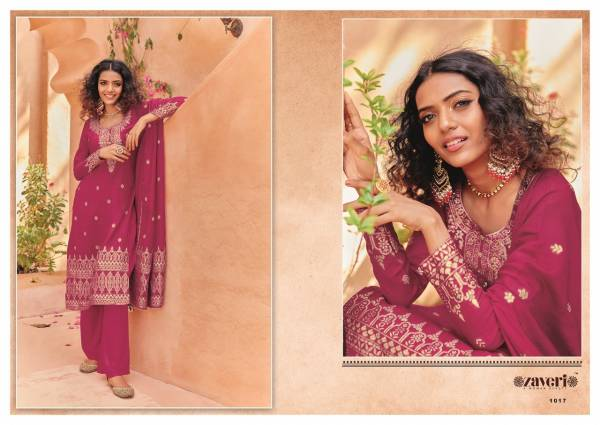 Zaveri Zeenat Viscose Silk With Khatli Hand Work Designer Salwar Suits Collection