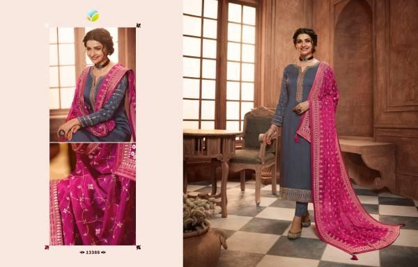 Vinay Fashion Kaseesh Muslin Satin Embroidery Work  Festival Wear Designer Salwar Suits Collection