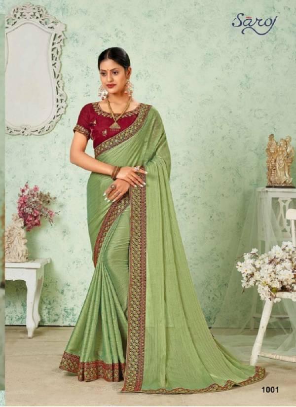 Saroj Resham Dhaga Soft Georgette With Satin And Zari Lining Sarees Collection