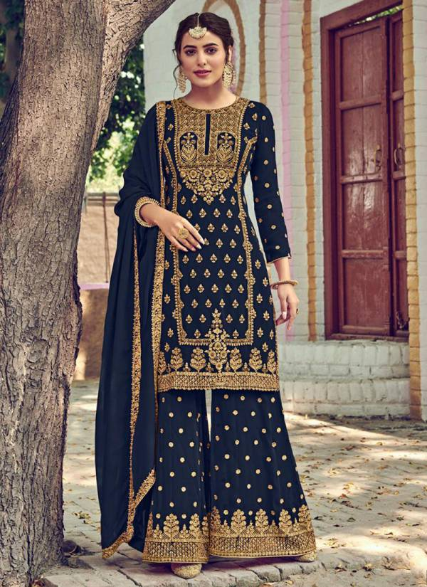 Eba Lifestyle Rose Gold Faux Georgette Inner Santoon Embroidery With Khatli Diamond Work Party wear Eid Special Salwar Suit Collections