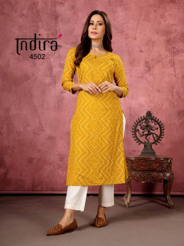 Indira Apparel Bandhej Pure Cotton Linen Fancy Kurtis With Bottoms Collection