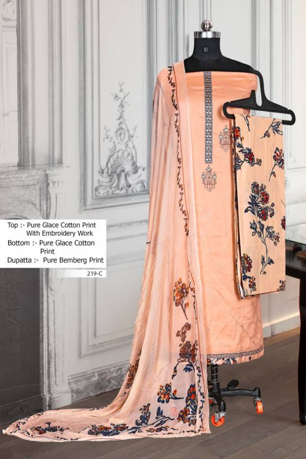 Bipson 219 Colours Series 219A-219D Cotton Glace Printed New Embroidery Work Regular Wear Dress Material Suits Collection