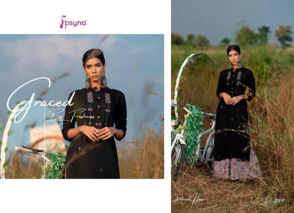 Psyna Palazzo House Vol 11 Series 11001-11010 Rayon Slub Dyed With Hand Work Stylish Casual Wear Kurtis With Palazzo Collection