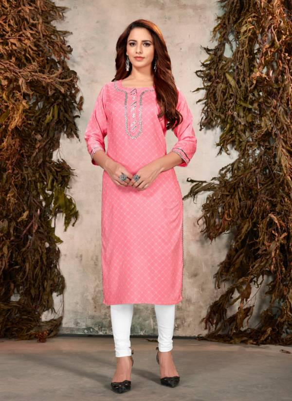 Banwery Sophie Series 1001-1010 Heavy Rayon Print With Gota Patti Work Casual Wear Fancy Kurti Collection