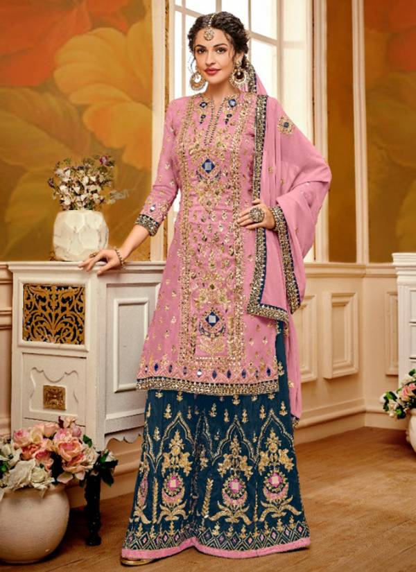 Eba Lifestyle Nazrana Vol 1 Series 5001-5003 Georgette With Embroidery Work Letest Designer Wedding Wear Palazzo Suits Collection