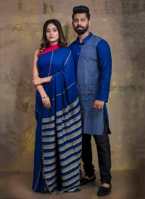 Aanvi Fab Series 101-128 Linen Trendy Look Festival Wear Couple Set Readymade Kurta Pajama And Saree Collection (Size:38,40,42,44 Only Kurta Pajama Readymade)