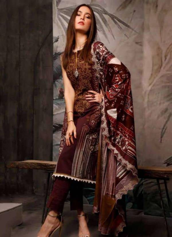 Agha Noor Luxury Lawn Vol 1 Pure Lawn Cotton Top & Bottom With pure Mal Mal Lawn Printed Dupatta Pakistani Suits Collection 1001-1010
