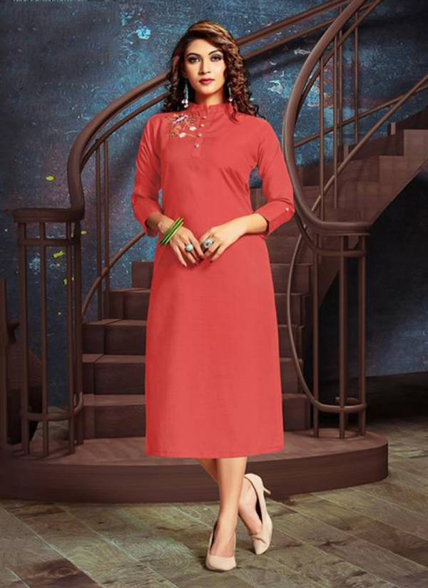 Akira Vol 1 Rooby Slub Embroidery Work Festival wear Kurti Collection 1001-1010