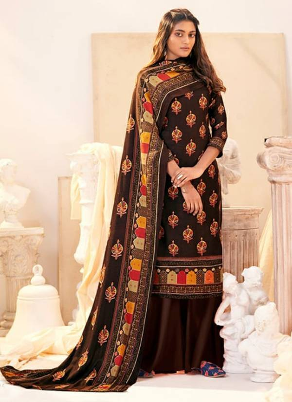 Winter Series 454 001-454 010 Pure Pashmina Digital Style Office Wear Sutis Collection
