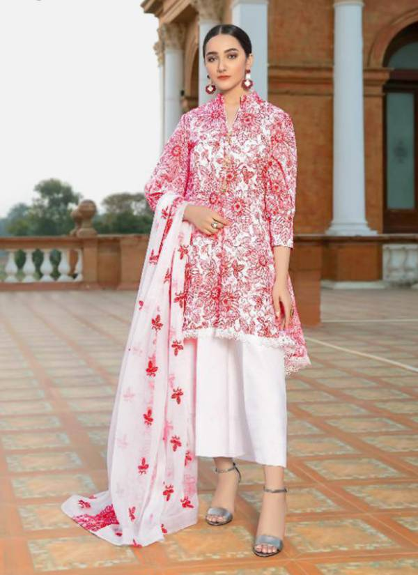 Almirah Vol 8 Pure Cotton With Exclusive Karachi Embroidery Work Top Stylish Semi Lawn Bottom With Nazneen Net Embroidery Work Dupatta Pakistani Sutis Collection 1227-1231