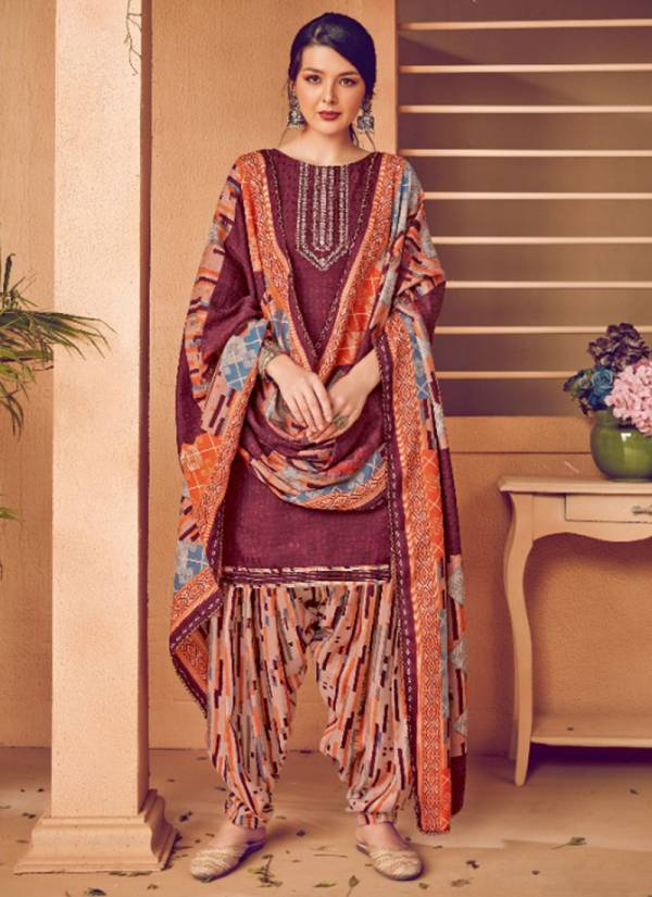 Alok Suit Shan E Panjab Series 001-010 Pure Wool Pashmina Self Print With Fancy Thread Embroidery Salwar Suit Collection