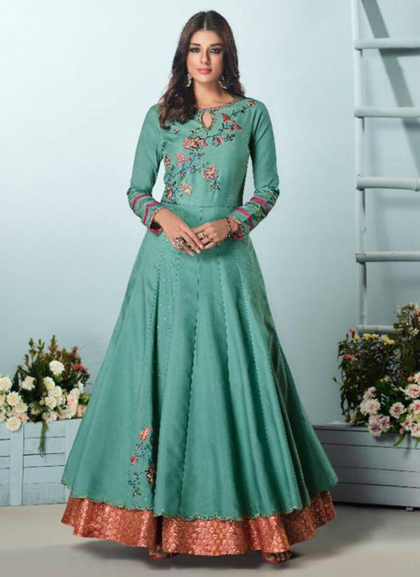 Vamika Amorina Vol 5 Series 22021-22025 Designer Long Muslin Silk With Heavy Royal Crepe Inner Festival Wear Gown Collection