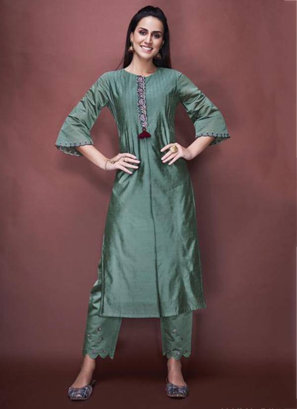 Nitara Angelica Series 5201-5205 Pure Chanderi With Pure Ctotton Mal Inner Hand Work Kurti With Bottom & Readymade Salwar Suit Collection