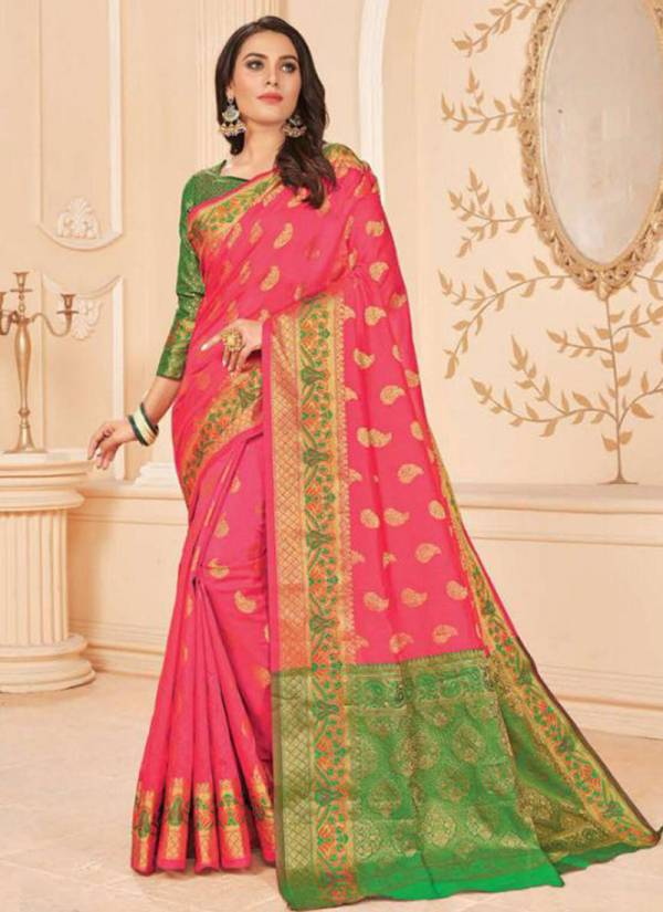 Saroj Avishka Series 1001-1005 Lichi Silk Jacquard Butta With Jacquard Pallu Party & Festival Wear Sarees Collection