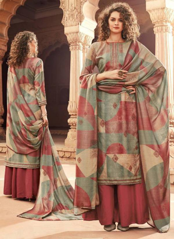 Winter Series 188-001 - 188-008 Pure Pashmina Digital Print With Swarovski & Self Embroidery Work Office wear Suits Collection
