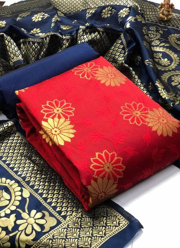 Textile Ctalog Banarasi Suits Series 1C-5C Banarasi Silk Latest Festival Wear Dress Material Suits Collection