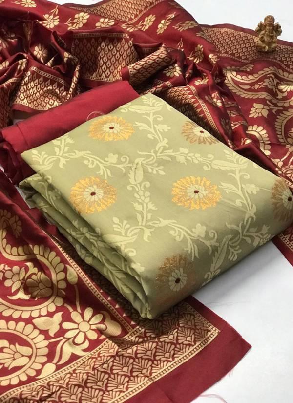 Textile Catalog Banarasi Suits Series 1-6 Banarasi Silk Festival Wear Dress Material Suits Collection