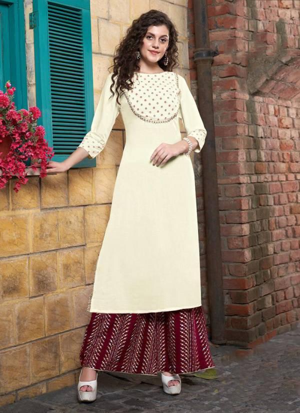 Diya Trends Biba's Vol 6 Series 6001-6014 Rayon Cotton Flex Fancy Embroidery Wrk With Classy Print Stylish Kurti & Palazzo Collection