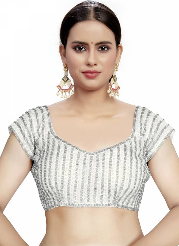 Ruhi Fashion Big Moti Chaine Series A-F Party Wear Fancy Moti Work Blouse Collection