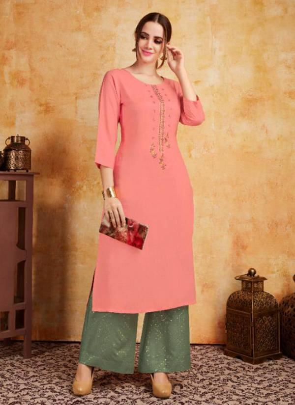 Blade Stylish Look Rayon Fancy Party Wear Kurti With Palazzo Collection 1001-1006