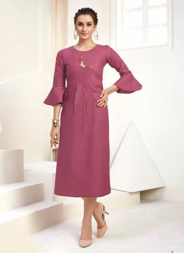 Calista Heavy Cotton With Designer Embroidery Work Kurti Collcetion 1001-1012
