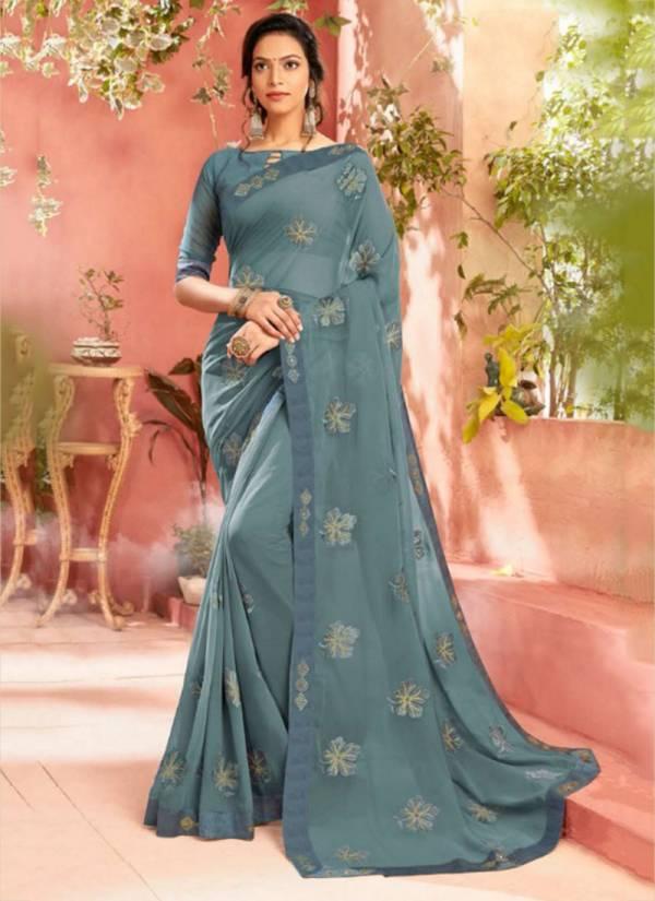 Saroj Chahat Series 410001-410006  Chiffon Regular Wear Embroidery Work Saree Collection
