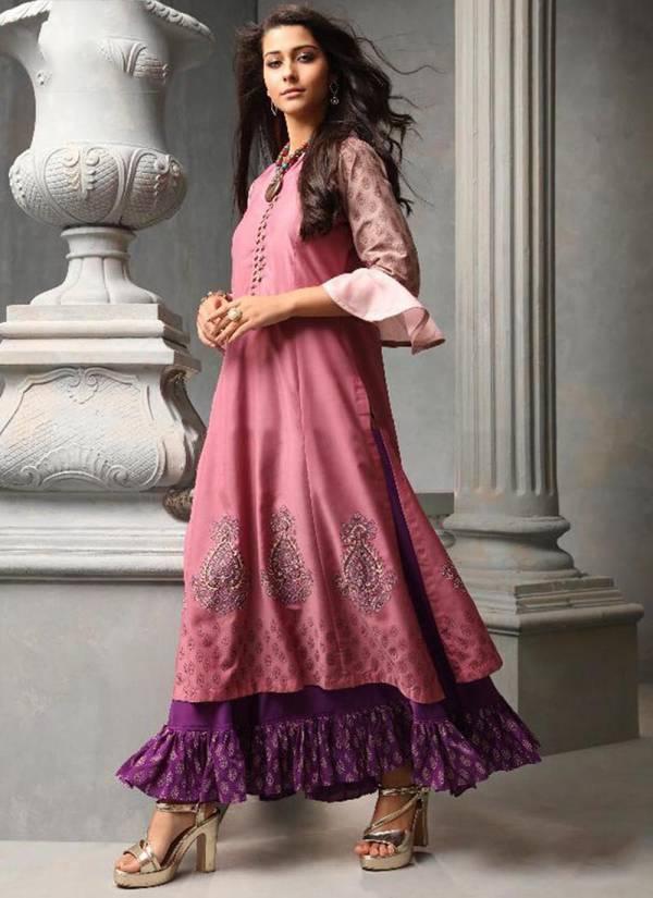 TZU-Charming-Series-1001-1005-New-Designer-Tussar-Silk-&-Muslin-Printed-And-Hand-Work-Kurti-Collection