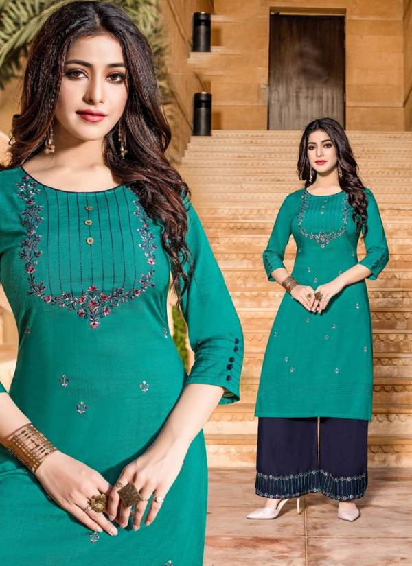 Chemistry Rayon With Embroidery Work Classy Look Kurti With Palazzo Collection 4001-4007