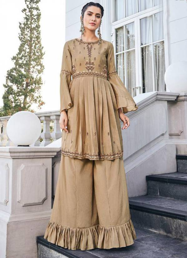 Vamika Chhinon Series 11001-11006 New Fancy Look Pure Heavy Chinnon Kurti With Palazzo Collection