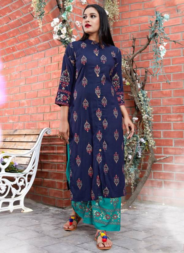 Fashion-Valley-Dresses-Clasic-Gold-Vol-2-Series-101-108-Rayon-Top-Foil-Print-Stylish-look-Kurti-With-Palazzo-Collection