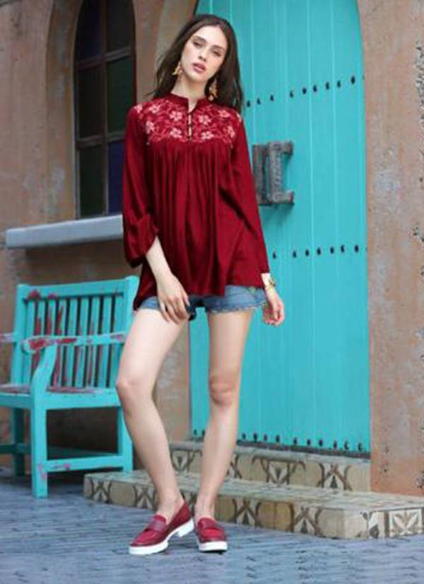 Dashing Heavy Two Tone Rayon Slub With Exclusive Embroidery Work Fancy Top Collcetion 101-108