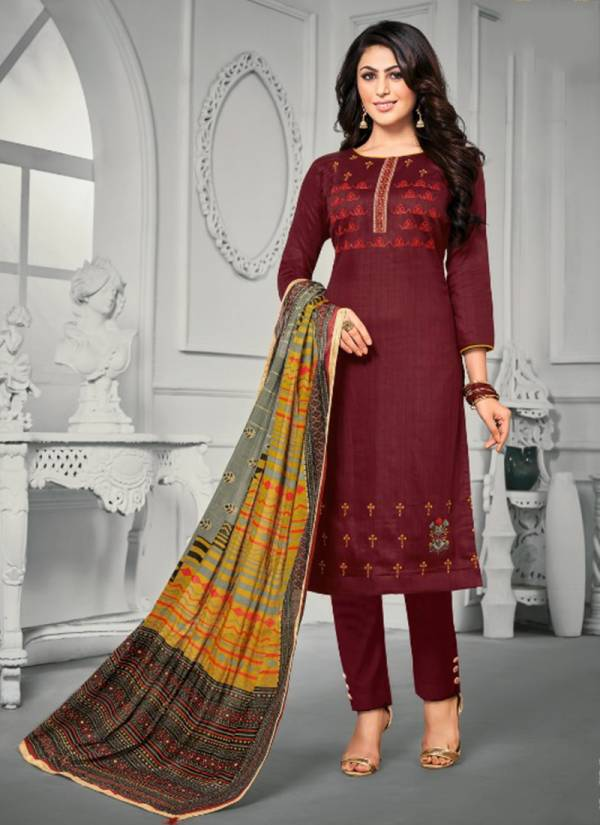 Desi Kudi Jam Satin Print With Heavy Embroidery Work Top Fancy Dyed Lawn Cotton Bottom With Lawn Mal Mal Four Side Lace Dupatta Suits Collection 801-807