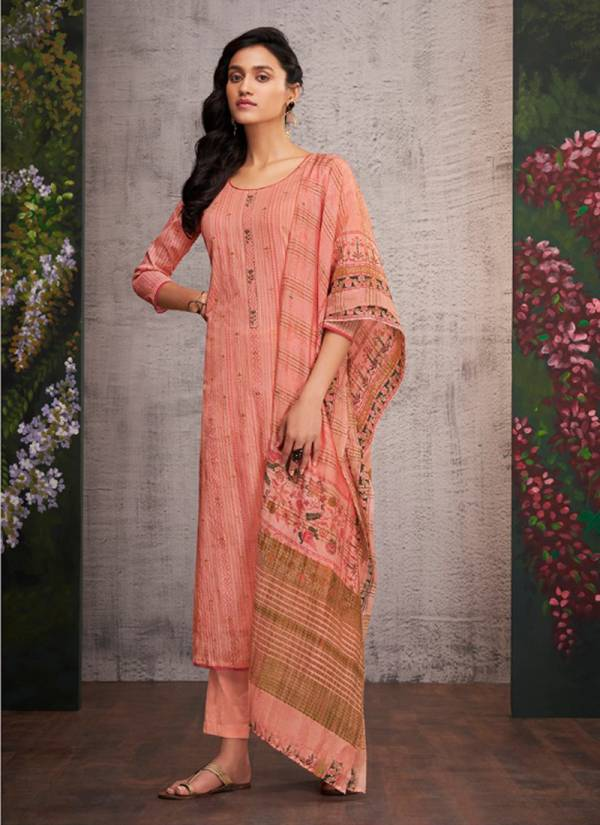 Divine Pure Cotton Pattern Print Salwar Suits With Muslin Jari Digital Print Dupatta Collection 511-518