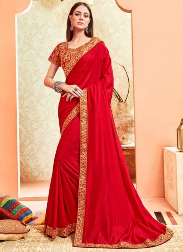 Dollar Vichitra Silk With Jari Embroidery Work Party Wear Sarees Collection 5865-5870