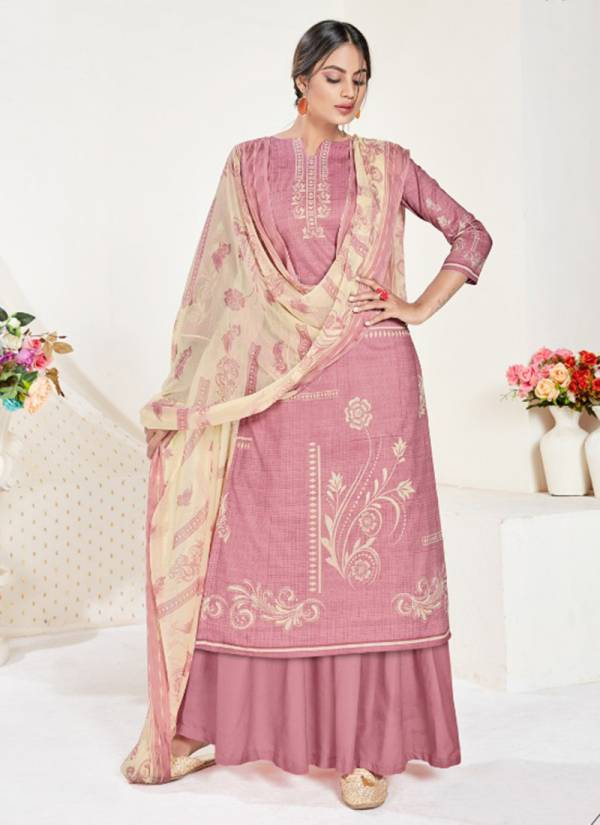 Elegance Cambric Cotton Print With Swarovski Daimond Work Top,Cotton Solid Bottom With Nazneen Chiffon Printed Duptta Latest Suits Collection 1618-001 - 1618-010