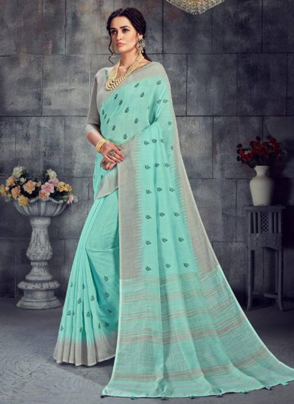 Emerald Linen Work With Calssy Look Daily Wear Sarees Collection 36981A-36986B