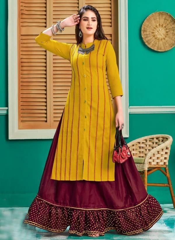Kajal Style Fashion Galaxy Vol 1 Series 1001-1010 Rayon Print Fancy Embroidery Work Kurti Palazzo Collection