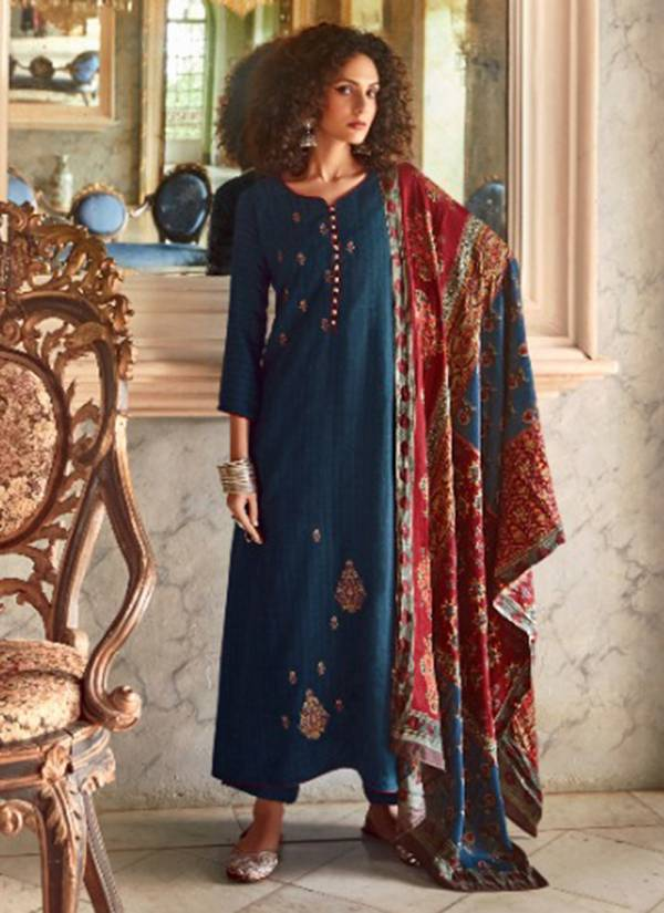Sanskruti Fawziyah Series 760-769 Pure Pashmina Wool Digital With Fancy Embroidery Work Daily werar Suits Collection