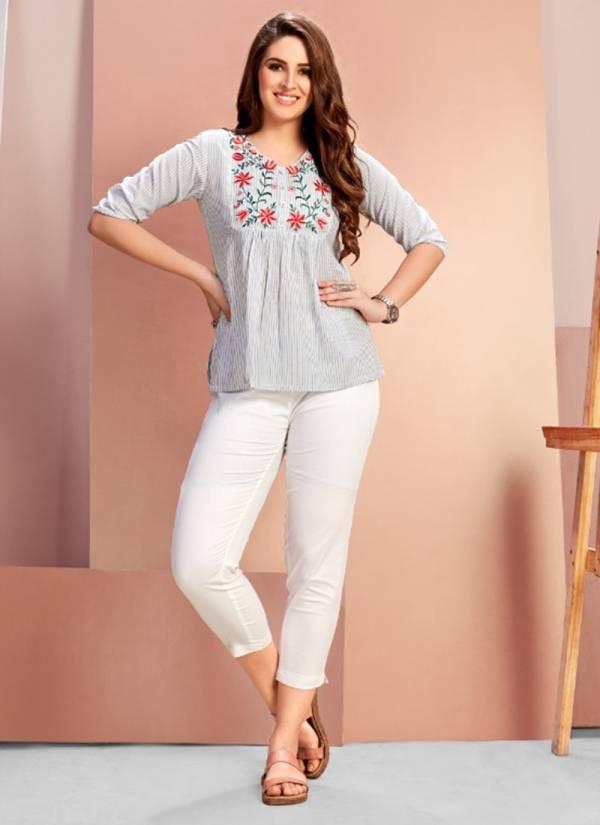 Mrigya Flora 4 Series 1416-1420 Cotton Handloom Wth stylish Embroidery Work Short Top Collection