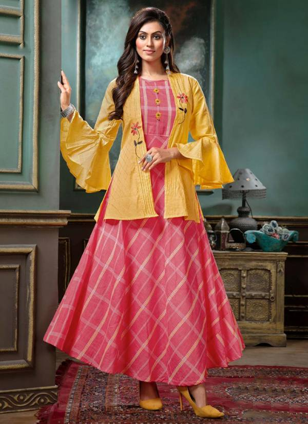 Kiana-Glam-Look-Series-001-005-Cotton-Rayon-Liner-With-Cotton-Jacquard-Jacket-Embroidery-Work-Kurti-Collection