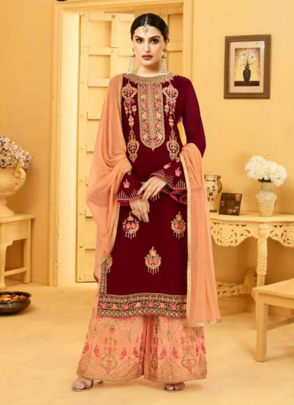 Glorina Faux Georgette Designer Top & Stitched Sharara With Nazneen Dupatta Wedding Wear Suits Collection 3310-3313