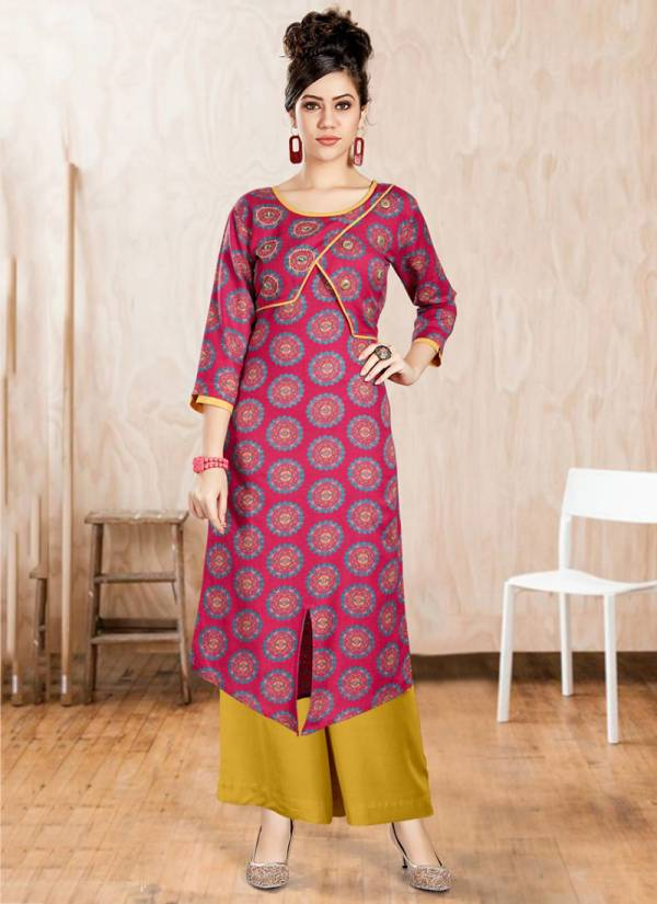 Channel 9 Glossy Series 1001-1006 Rayon Flex Print With Fancy Kurti & Palazzo Collection