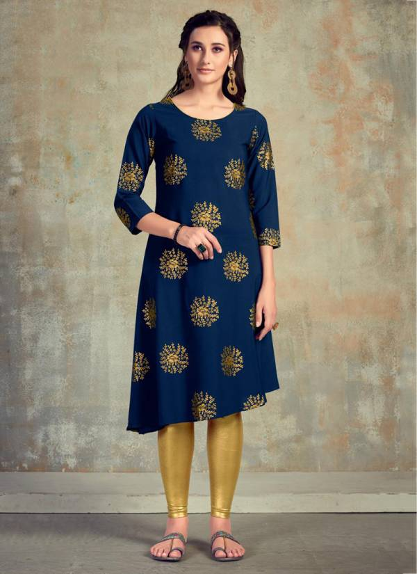 Poonam Designer Gold Queen Series 3001-3005 Malai Crepe With Heavy Foil Print Stylish Look Kurti Collection