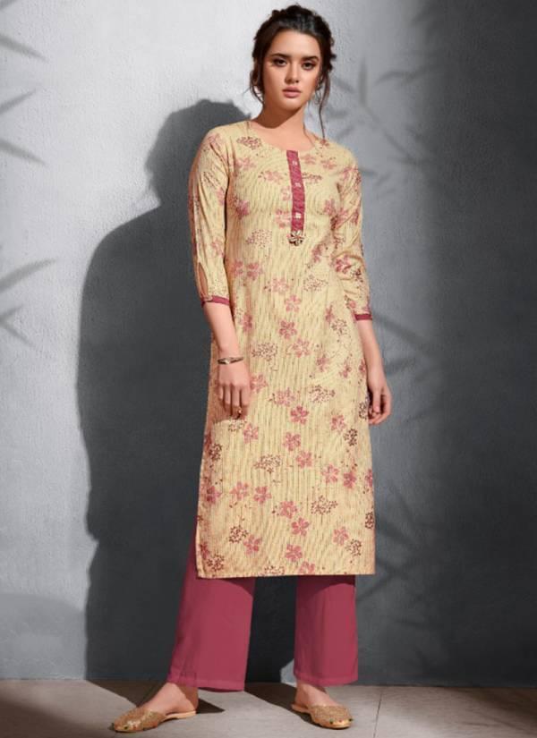 Topdot Gold Soul Series 321-326 Viscose Rayon Handloom Gold Foil Print Festival Wear Kurti Collection