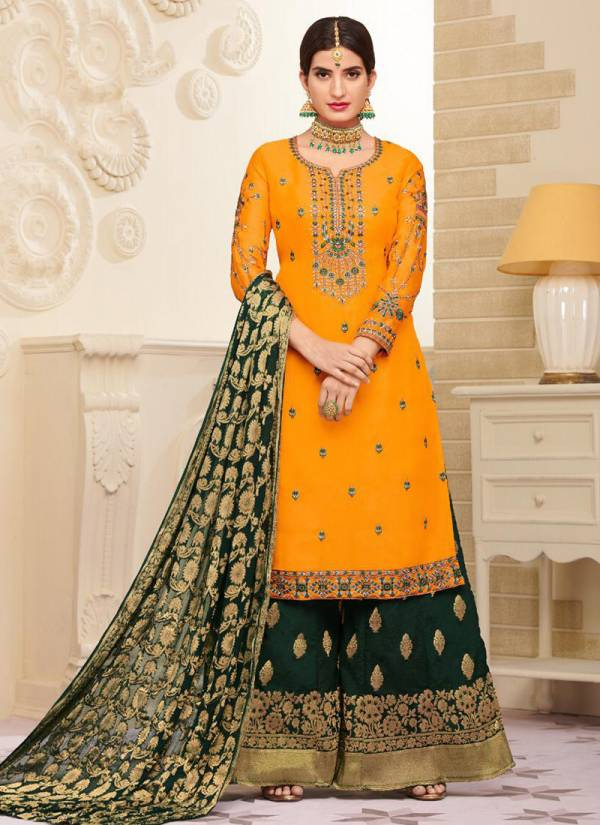 Seriema Gulfaam Series 1038-1041 Latest Satin Georgette With Embroidery Work Wedding Wear Suits Collection