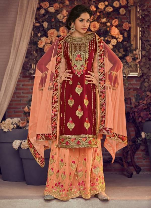Gulnaaz Vol 15 Heavy Georgette With Exclusive Embroidery Fancy Daimoand Work Top & Stitch Palazzo With Butterfly Net With Embroidery Work Lace Dupatta Wedding Wear suits Collection 1071-1075