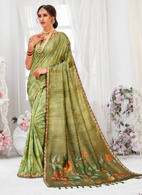 Heena Tussar Silk Digital Print Pallu Work Stylish look Sarees Collection 36927-36933