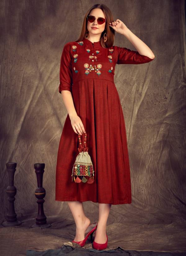 Rangjyot Herry Vol 3 Series 01-08 Two Tone Rayon Long Fancy look Embroidery Work Kurti Collection