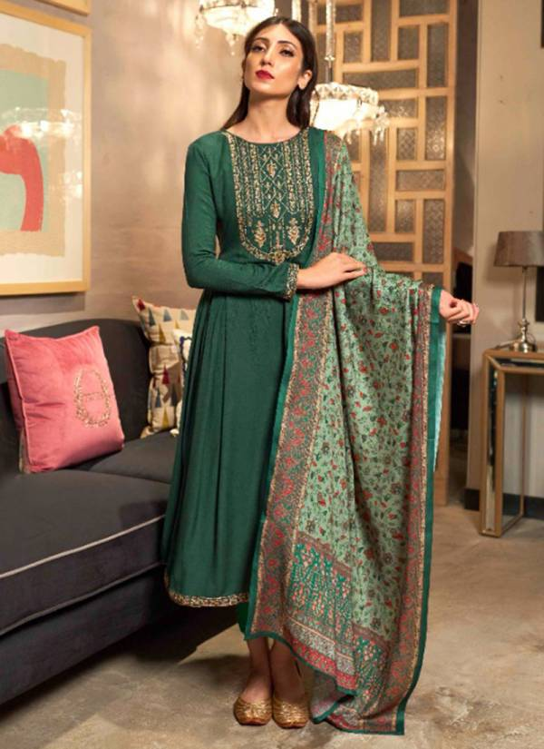 Kalki Fashion Illusion Series 9001-9008 Pure Dyed Pashmina With Fancy Cording Work Classy Look Suits Collection
