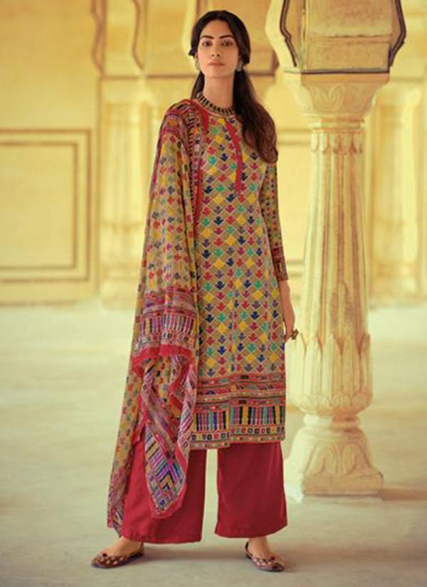 Winter Series 79001-79006 Self Woven Pashmina Print With Stylih Hand Embroidery Work Salwar Suits Collection